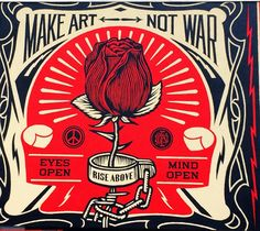 "Shepard Fairey's ""Make Art Not War"" for Urban Nation Berlin's One Wall project"