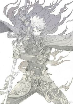 Anime/ manga warrior with sword pose reference Male Character, Fantasy Character Design, Character Design Inspiration, Character Concept, Concept Art, Art Anime, Anime Kunst, Manga Drawing, Manga Art