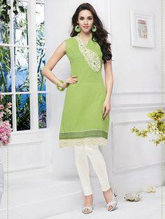 Parrot Green Color Cotton Readymade Casual Kurtis ( Sizes - 40, 42 ): Rishona Collection YF-25973