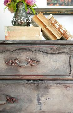 Creating An Old World Furniture Finish - Seaglass - Because of her size, this french provincial dresser gave me a really good workout – but I loved e - Old World Furniture, Refurbished Furniture, Repurposed Furniture, Shabby Chic Furniture, Furniture Makeover, Vintage Furniture, Furniture Stores, French Furniture, Rustic Furniture