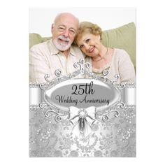 25th Wedding Anniversary Invitations Elegant Silver Rose Photo 25th Anniversary Invite