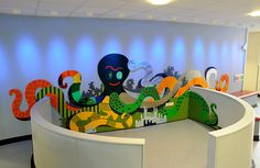 Mike Ayres Design designed, manufactured and installed the tactile octopus at The Gem Centre in Wolverhampton Sensory Art, Sensory Rooms, Sensory Boards, Autism Classroom, Bebe 1 An, Kindergarten Interior, Church Activities, Wall Murals, School