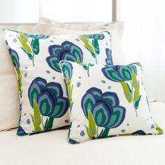Pine Cone Hill Happy Poppies Blue Decorative Pillow