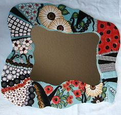 April: Whimsy Mirror polymer clay Pamela Carman