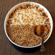 A home cook goes on a quest to update her family's tradition of the sweet potato casserole topped with marshmallows. For a tradition worth upholding, she develops a new updated recipe for sweet potato casserole with pecan crumble and marshmallows. Thanksgiving Side Dishes, Thanksgiving Recipes, Fall Recipes, Holiday Recipes, Family Thanksgiving, Christmas Desserts, Pumpkin Recipes, Christmas Recipes, Good Food