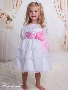 Kleine Darja - Entzückendes Babyfestkleid in Weiß-Rosa! - Alles für die Taufe & Kommunion bei Princessmoda.de