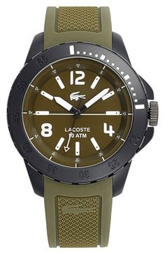Lacoste 'Fiji' Silicone Strap Watch, 46mm