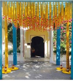 Mehendi color scheme of blue and yellow