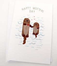 Happy M'Otters Day Card by Spaghetti Toes by HarpAndSquirrel