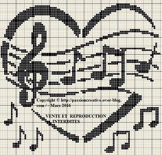 Grille gratuite point de croix : La musique en coeur 2 - Le blog de Isabelle