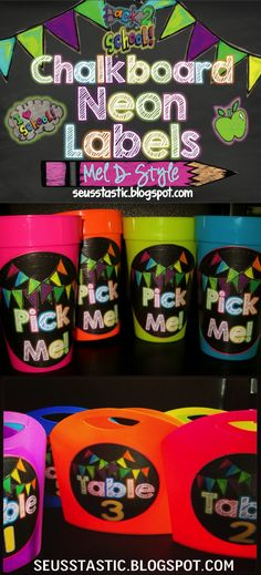 Neon Chalkboard Labels Galore! So bright colorful!