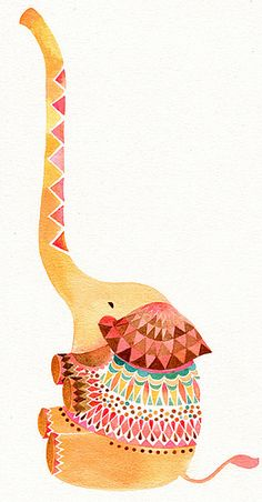 Adorable and colorful print of an elephant. I think my youngest daughter would LOVE this in their room when they move in.