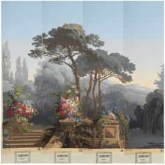 "Panoramic wallpaper (papier peint) from the ""Eldorado"" series, comprising twenty three panels of French panoramic wallpaper by Zuber & Cie, decorated with a continuous vista of dense blooming foliage with exotic birds, co-designed by Georges Zipélius, Eugène Ehrmann and Joseph Fuchs."