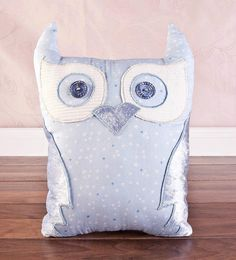 Owl handmade cushion, Large. Baby pastel blue.