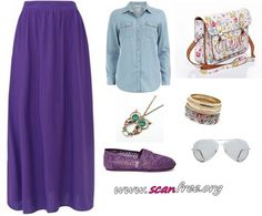 Purple Maxi Skirts-Outfit Combination Ideas
