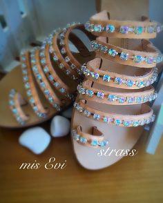 Strass!!! Handmade leather sandals!!! Greek Sandals, Bangles, Bracelets, Handmade Leather, Leather Sandals, Unique, Diy, Jewelry, Fashion