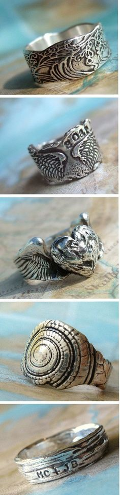 Handmade Silver Jewelry, Cool Rings by HappyGoLicky | CLICK pic to see entire collection & use coupon code PIN10 to SAVE 10% now! FOLLOW @HappyGoLicky Custom Silver Jewelry on Etsy Custom Silver Jewelry on Etsy Custom Silver Jewelry on Etsy to see more.