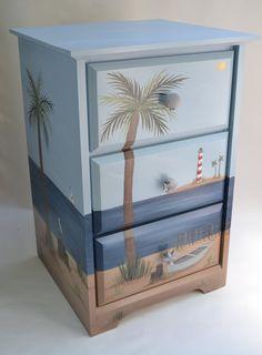 Hand Painted Beach Furniture/ Beach Chest/ Beach Nightstand/ Beach End  Table/ Coastal