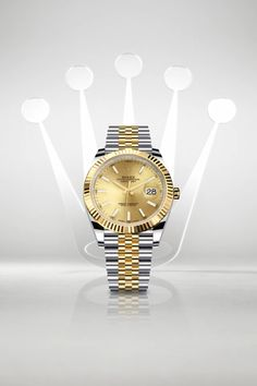 The Oyster Perpetual Datejust 41 in a yellow Rolesor version – a combination of Oystersteel and yellow gold – with a champagne-colour dial and fitted with a Jubilee bracelet. Stylish Watches, Luxury Watches For Men, Cool Watches, Rolex Watches, Rolex Submariner No Date, Rolex Datejust, Rolex Bracelet, Golden Watch, Watch Image