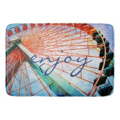 "#personalize - #""Enjoy"" quote colorful ferris wheel photo bath mat"