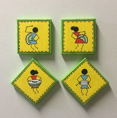 Simple canvas art for kids acrylic paintings 17 Super Ideas Easy Canvas Art, Mini Canvas Art, Abstract Canvas, Madhubani Art, Madhubani Painting, Krishna Painting, Worli Painting, Fabric Painting, Acrylic Paintings