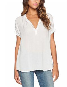 Women's Casual Chiffon V-neck Short Sleeve Blouse Tops - T-shirts - Women
