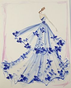 """An original one-of-a-kind sketch drawn and signed by Christian Siriano, framed (as shown). Media: watercolor and ink on paper, with black wooden frame. Sketch orders are limited edition and non-refundable. Framed dimensions: 17"""" x 20"""""""