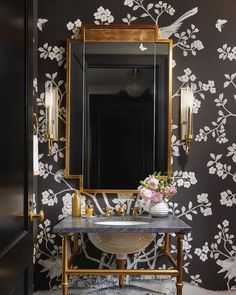 """Schumacher on Instagram: """"We're feeling moody and mysterious... Designer @jamesthomasinteriors papered this powder room with our#ChinoisPalais by @marymcdonaldinc!…"""" Powder Room Decor, Powder Room Design, Powder Rooms, Powder Room Wallpaper, White Chandelier, Building A New Home, Interior Photo, House Beds, Visual Comfort"""