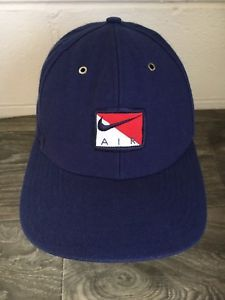 75f1ed4623e Nike Air Hat 90s Vintage Adjustable Box Logo Rare Blue Dad Cap Strap back  Swoosh