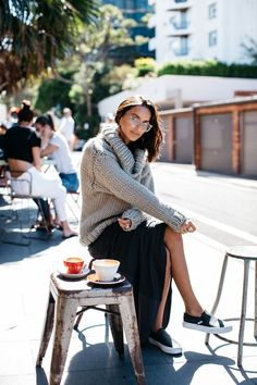 Photos via: She Be The Sound Love how Australia blogger Bella combined her chunky turtleneck sweater, maxi skirt and Vans slip-on sneakers together. Everything comes together to create a great casual