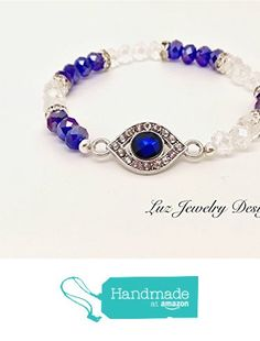 Blue eye bracelet, blue stretching bracelet, blue crystal bracelet, blue and white bracelet, blue eye bracelet, evil eye bracelet stretching from Luz Jewelry Design https://www.amazon.com/dp/B06XDJ5K2J/ref=hnd_sw_r_pi_dp_JeSUybFGMR57N #handmadeatamazon