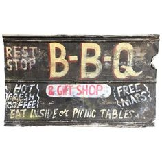 Vintage BBQ Advertising Sign ($110) ❤ liked on Polyvore featuring home, home decor, wall art, signs, vintage wall art, handmade signs, map wall art, handmade wall art and vintage signs