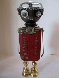 Wissot Russian Bot - found object robot sculpture assemblage