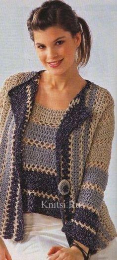 Crochet Patterns Jacket Easy to make - lovely set or just the cardigan for spring /summer Shrug Pattern, Crochet Cardigan Pattern, Crochet Blouse, Crochet Top, Free Pattern, Free Crochet, Gilet Crochet, Crochet Jacket, Crochet Vests
