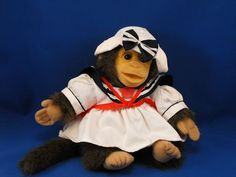 New product 'HOSUNG Brown Monkey Full Body Puppet Sailor Dress Hat' added to Dirty Butter Plush Animal Shoppe! - $15.00 - HOSUNG Plush 12 inch Brown Fur Full Body Puppet Monkey - Tan Flocked Soft Vinyl Face - Tan Fleece Knit Hands, Feet - Vel…