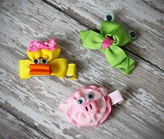 Hair Bows – Animal Hair Clip - Ribbon Sculpture - Frog, Pig or Duck. $1.99 each!
