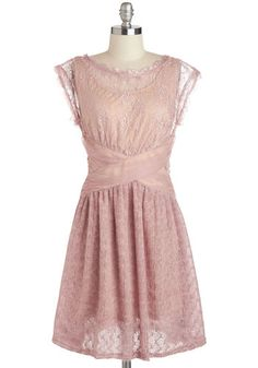 A Laud of Love Dress in Dusty Rose by Ryu - Mid-length, Pink, Tan / Cream, Solid, Lace, Daytime Party, Pastel, A-line, Cap Sleeves, Bridesmaid, Vintage Inspired, 40s, Wedding, Variation