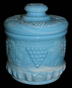 Fenton Art Glass Blue Marble Grape and Cable Candy Cookie Jar | eBay