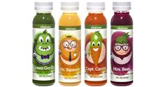 New from Vital Juice: Vital Kids organic, cold-pressed juice helps kids drink less sugar and more fruits and vegetables. Squeeze and Mrs. Juice Branding, Juice Packaging, Beverage Packaging, Bottle Packaging, Bottle Labels, Kid Drinks, Fruit Drinks, Green Gorilla, Kids Packaging