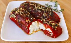 Learn to make vegetarian roasted bell peppers stuffed with goat cheese, topped with sesame seeds and fresh herbs. Vegetarian Roast, Vegetarian Recipes, Healthy Recipes, Goat Cheese Recipes, Dips, Passover Recipes, Jewish Recipes, Kosher Recipes, Kosher Food