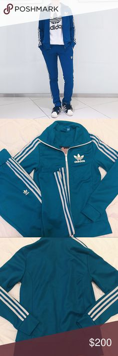 """❗️SOLD❗️NWOT blue adidas europa track set NWOT blue adidas europa track set. Never worn, excellent condition. Paid $200. Rare dark blue color with 3 white stripes. The jacket has beautiful flower patterned lining, also makes it breathable. Track pants have both drawstring and elastic waist band. There is a tiny pen mark on the right leg. Jacket: total length: 21"""", sleeve: 23"""", 15"""" across, waist: 17"""" across. Pants: total length: 37"""", inseam: 29"""", waist: 28"""", hip: 38"""". PRICE FIRM. Feel free to…"""