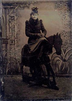 ca. 1880-1900's, [tintype portrait of a woman on a prop studio horse]