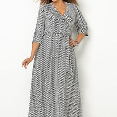 Chevron Print Maxi Dress-Plus Size Maxi Dress-Avenue