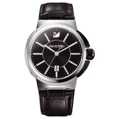 Shop for Swarovski Men's 1094350 'Piazza' Crystal Black Leather Watch. Get free delivery On EVERYTHING* Overstock - Your Online Watches Store! Black Leather Watch, Leather Case, Swarovski Watches, Online Watch Store, Black Crystals, Stainless Steel Case, Quartz Watch, Watch Bands, Watches For Men