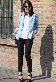 Denim shirt  #fashion #style #outfit, Blanco in Shirt / Blouses, H in Jeans, New Look in Heels / Wedges, Primark in T Shirts