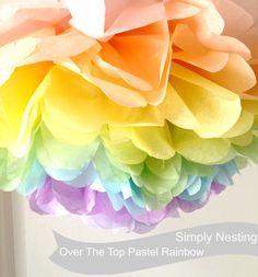 1 XL Pastel Rainbow Pom, Tissue Paper Pom Pom, Pastel Rainbow Theme Party