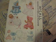 ORIGINAL Doll Clothes PATTERN 713 for 15 inch Dydee Tiny Tears dolls Effanbee