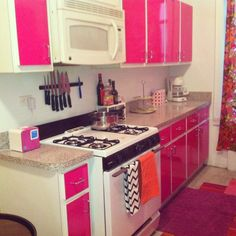 Hot Pink Kitchen - An easy DIY for a boring apartment rental kitchen. Use contact paper to give your kitchen a bold makeover. Easy to remove when you move out. I bought Magenta Glossy Colored Self-Adhesive contact... $65.00 -   http://www.designyourwall.com/store/Glossy-Solid-Colored-Contact-paper-c-133.html
