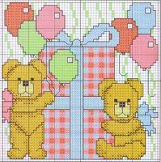 orsetti - festa di compleanno - regalo - punto croce