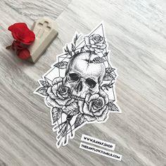 Dotwork Schädel Rose Rosen Tattoo-Design, jetzt herunterladen oder beauftragen Sie mich: www . Mandala Tattoo Design, Dotwork Tattoo Mandala, Tattoo Designs, Skull Tattoo Design, Tattoo Ideas, Art Designs, Small Skull Tattoo, Geometric Tattoo Skull, Hexagon Tattoo